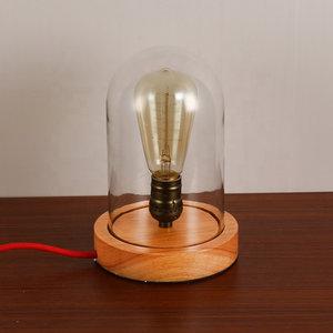 Houten Dome Bell Tafellamp, E27 Fitting, Glas, ⌀12x23cm