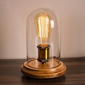 Houten Dome Bell Tafellamp, E27 Fitting, Glas, ⌀16x26cm