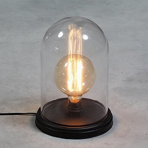Houten Dome Bell Tafellamp, E27 Fitting, Glas, Zwart, ⌀16x26cm