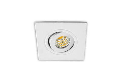 Inbouwspot LED 3W, Wit, Vierkant, Kantelbaar, Dimbaar