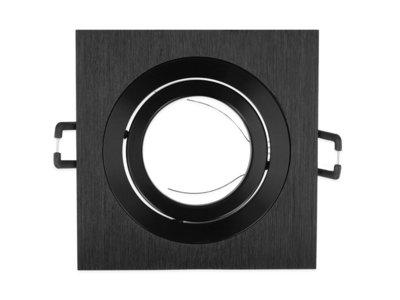 Inbouwspot, Vierkant, Kantelbaar zwart